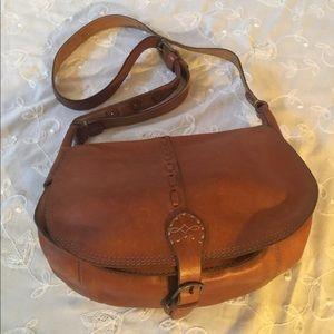 BoHo brown leather LUCKY BRAND saddlebag Purse